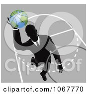Clipart Businessman Slam Dunking A Globe Basketball Royalty Free Vector Illustration