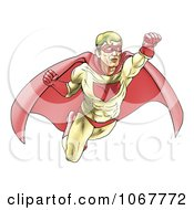 Clipart Halftone Dotted Super Hero Flying Royalty Free Vector Illustration