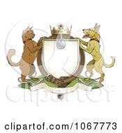 Clipart Cat And Dog Pets Coat Of Arms With A Collar Royalty Free Vector Illustration by AtStockIllustration