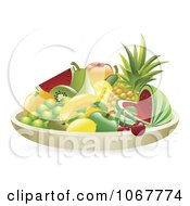 Clipart 3d Bowl Of Tropical Fruit Royalty Free Vector Illustration by AtStockIllustration