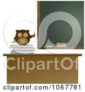 Clipart Teacher Owl On A School Desk Royalty Free Vector Illustration