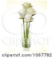 Clipart Four Ivory Roses In A Vase Royalty Free Vector Illustration