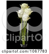 Clipart Three Cream Roses In A Vase Royalty Free Vector Illustration