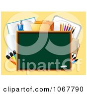Clipart 3d Chalk Board With School Supplies Royalty Free Vector Illustration