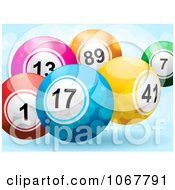 Clipart 3d Bingo Balls And Sparkles On Blue Royalty Free Vector Illustration