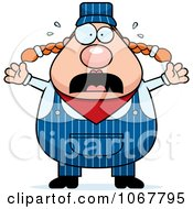Clipart Panicking Pudgy Female Train Engineer Royalty Free Vector Illustration
