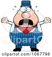 Clipart Panicking Pudgy Male Train Engineer Royalty Free Vector Illustration