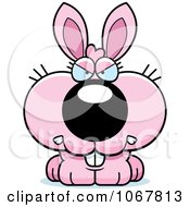 Clipart Mad Pink Bunny Royalty Free Vector Illustration