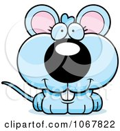 Clipart Smiling Blue Mouse Royalty Free Vector Illustration by Cory Thoman