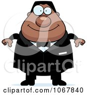 Clipart Pudgy Black Groom Royalty Free Vector Illustration