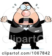 Clipart Panicking Pudgy White Groom Royalty Free Vector Illustration