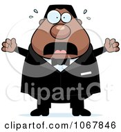 Clipart Panicking Pudgy Black Groom Royalty Free Vector Illustration