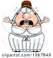 Clipart Panicking Pudgy White Bride Royalty Free Vector Illustration