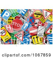 Clipart Background Of 3d UK Traffic Signs Royalty Free CGI Illustration