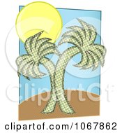 Clipart Two Palm Trees And Sun Royalty Free Vector Illustration by mheld