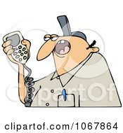 Clipart Worker Talking On A Radio Royalty Free Vector Illustration