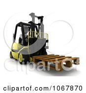 3d White Character Moving A Pallet On A Forklift