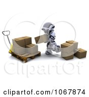 Clipart 3d Robot Putting Boxes On A Pallet Royalty Free CGI Illustration