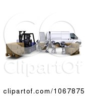 Clipart 3d Robots With A Van And Forklift In A Warehouse Royalty Free CGI Illustration by KJ Pargeter