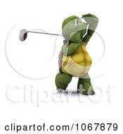 Clipart 3d Tortoise Golfing 5 Royalty Free CGI Illustration