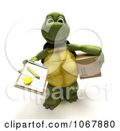 Clipart 3d Tortoise Holding Out A Signature Form And Box Royalty Free CGI Illustration by KJ Pargeter