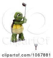Clipart 3d Tortoise Golfing 4 Royalty Free CGI Illustration