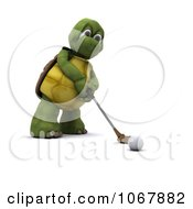 Clipart 3d Tortoise Golfing 6 Royalty Free CGI Illustration