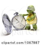 Clipart 3d Tortoise With A Pocket Watch Royalty Free CGI Illustration