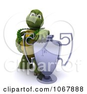 Clipart 3d Tortoise With A Trophy Cup Royalty Free CGI Illustration