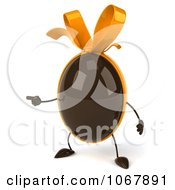 Clipart 3d Pointing Chocolate Egg Royalty Free CGI Illustration