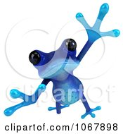 3d Blue Springer Frog Jumping 4
