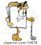Clipart Picture Of A Paper Mascot Cartoon Character Leaning On A Golf Club While Golfing by Toons4Biz