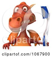 Clipart 3d Red Dragon With A Toothbrush And Sign 1 Royalty Free CGI Illustration