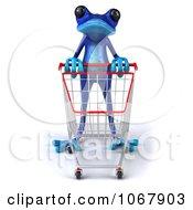 Clipart 3d Blue Springer Frog Shopping 1 Royalty Free CGI Illustration