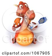 Clipart 3d Thumbs Up Red Dragon With A Toothbrush Royalty Free CGI Illustration