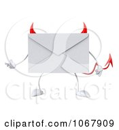 Clipart 3d Presenting Devil Envelope Royalty Free CGI Illustration