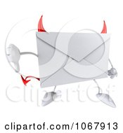 Clipart 3d Thumbs Down Devil Envelope Royalty Free CGI Illustration