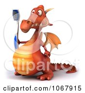 Clipart 3d Red Dragon With A Toothbrush 2 Royalty Free CGI Illustration