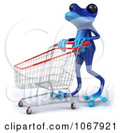 Clipart 3d Blue Springer Frog Shopping 2 Royalty Free CGI Illustration