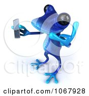 Clipart 3d Blue Springer Frog With A Cell Phone 6 Royalty Free CGI Illustration