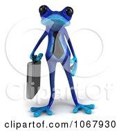 3d Blue Springer Frog Businessman 1