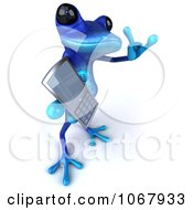 Clipart 3d Blue Springer Frog With A Cell Phone 5 Royalty Free CGI Illustration
