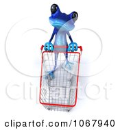 Clipart 3d Blue Springer Frog Shopping 3 Royalty Free CGI Illustration