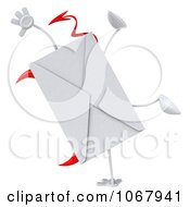 Clipart 3d Devil Envelope Doing A Cartwheel Royalty Free CGI Illustration