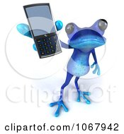 Clipart 3d Blue Springer Frog With A Cell Phone 4 Royalty Free CGI Illustration