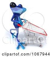 Clipart 3d Blue Springer Frog Shopping 4 Royalty Free CGI Illustration