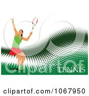 Clipart Tennis Woman Background 6 Royalty Free Vector Illustration