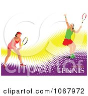 Clipart Tennis Woman Background 7 Royalty Free Vector Illustration