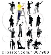 Clipart Silhouetted Workers Royalty Free Vector Illustration
