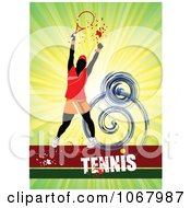 Clipart Tennis Woman Background 3 Royalty Free Vector Illustration
